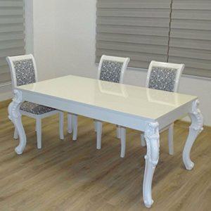 Euro Tische Esstisch Größe 160 x 90 cm, Weiß Hochglanz mit Kratzfestem Lack in Modern Barock geschwungene Tischbeine
