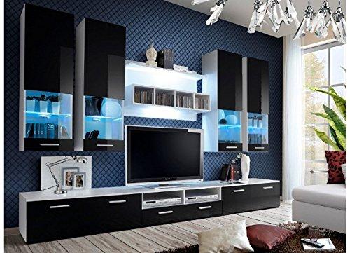 Wohnwand CORFU Hochglanz mit LED-BELEUCHTUNG SCHWARZ-WEIß