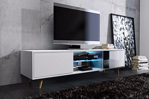 Tv Schrank Lowboard Sideboard Tisch Möbel Board Rivano mit LED - Beleuchtung (Weiß Matt / Weiß Hochglanz mit LED)
