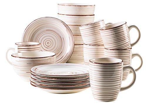 MÄSER Serie Bel Tempo, Frühstücksset 18-Teilig, Keramik Geschirr für 6 Personen in Holzoptik, Handbemalt in der Farbe Beige