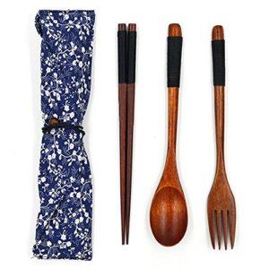 Holz Besteck Set Vintage Stil, praktische Geschirr Besteck für Küche Zuhause Restaurant, Stäbchen Gabel Löffel 3 Stücke