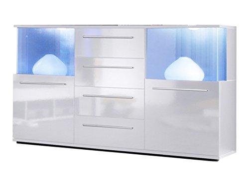 trendteam Wohnzimmer Sideboard Kommode Schrank Punch, 141 x 82 x 40 cm in Korpus Weiß, Front Weiß Glanz mit LED Unterbodenspots mit Farbwechselfunktion
