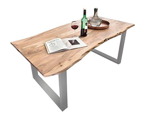 Esszimmer-Tisch mit Metall-Fuß aus Massiv-Holz 160x85 cm recht-eckig | Salito Ess-Tisch | Holz-Tisch mit Baum-Kante und Kufen-Gestell in silber | Rustikaler naturbelasser baumkante-tisch aus Akazie 160cm x 85cm