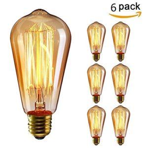 KINGSO 6x E27 40W Edison Lampe Vintage Stil Glühbirne dimmbar kohlefadenlampe Squirrel Cage gluehbirne Retro Birne Antike Beleuchtung diy für lampenfassung