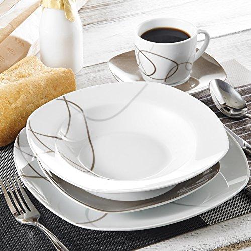 Veweet Tafelservice 'Nikita' aus Porzellan 30 Teilig | Kombiservice beinhatlet Kaffeetassen 175 ml, Untertasse, Dessertteller, Speiseteller und Suppenteller| Komplettservice für 6 Personen
