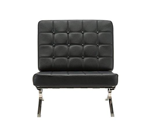 MCombo Loungesessel Relaxsessel Cocktailsessel Modern Lounge Stuhl PU Leder Edelstahl