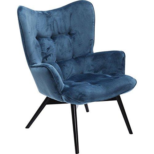 KARE Design Sessel Vicky 82609 mit Armlehnen, Ohrensessel mit Samt Bezug, Polstersessel in Petrol, pflegeleichte Oberfläche, Füße aus massiver Buche lackiert, 59x63x92cm