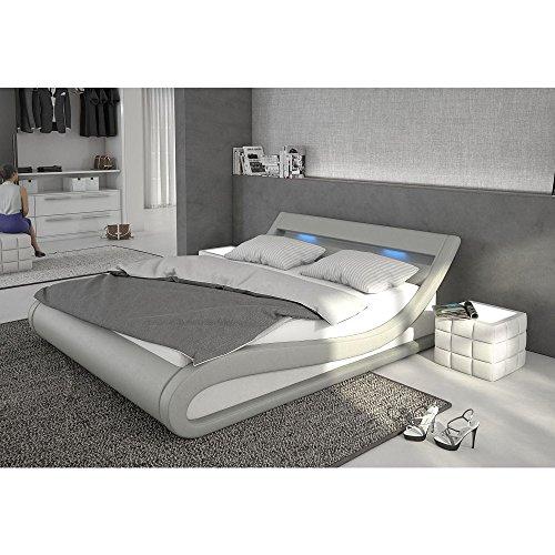 Polster-Bett 180x200 cm grau aus Kunstleder mit blauer LED-Beleuchtung | Bellugia | Das Kunst-Leder-Bett ist ein edles Designer-Bett | Doppel-Bett 180 cm x 200 cm mit Lattenrost in Leder-Optik