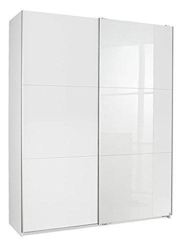 Schwebetürenschrank weiß 2 Türen B 175 Jugendzimmer Schlafzimmer Kleiderschrank Wäsche Schrank Schiebetürenschrank