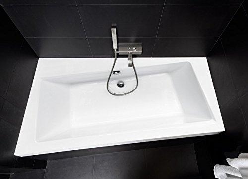 EXCLUSIVE LINE Rechteck/Eck Badewanne INFINITY 170x110 cm Links mit Schürze + Füßen, Ablaufgarnitur, Silikon GRATIS