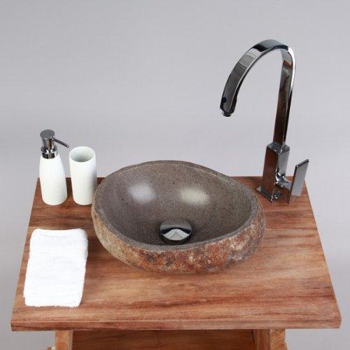 Wohnfreuden Naturstein - Waschbecken Steinwaschbecken 30 cm klein rund ❘ perfekt für Ihr Bad Gäste WC ❘ versandkostenfrei ✓