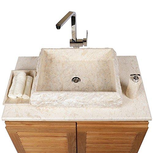 WOHNFREUDEN Marmor Waschbecken KOTAK 50 cm ✓ groß recht-eckig creme ✓ Steinwaschbecken oder Naturstein Waschbecken für Bad Gäste WC ✓ inkl. techn. Zeichnung ✓ versandkostenfrei