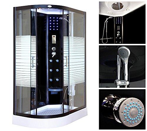 Home Deluxe Dampfdusche | Black Pearl | 120x80 cm | Links | inkl. komplettem Zubehör