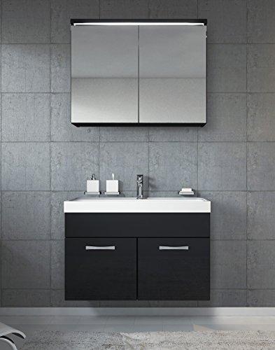 Badezimmer Badmöbel Paso 02 80 cm Waschbecken Hochglanz Schwarz Fronten - Unterschrank Schrank Waschbecken Spiegelschrank Schrank