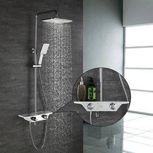 Homelody 3-Funktion Duschsystem mit Thermostat Duscharmatur Duschset mit Rainshower Handbrause Duschkopf Regendusche Dusche Armatur und Duschablage Badewanne Brausethermostat