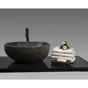 Wohnfreuden Waschbecken aus Stein Steinwaschbecken 40 cm rund für Gäste WC Bad | Naturstein für Waschtisch | Versandkostenfrei ✓