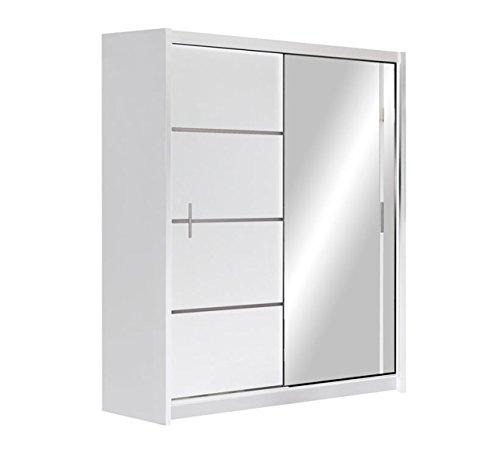 Kleiderschrank Rapid, Schwebetürenschrank mit Spiegel, Schiebetür, Elegantes Schlafzimmerschrank, Schlafzimmer, Jugendzimmer (Weiß / Spiegel, 150 cm)