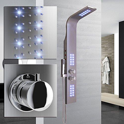 SAILUN Edelstahl Duschpaneel mit LED Thermostat, Einstellbarer Temperatursperre bei 38 °C, 100 Rückendüsen, Handbrause mit 45 Düsen, Edles - Chrome, für Wellness Luxus und Duschvergnügen