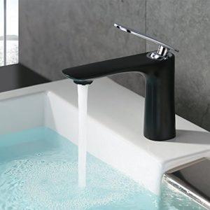 Homelody Schwarz Wasserhahn Badarmatur Waschbeckenarmatur Armatur Bad Mischbatterie Waschtischmischer Einhebelmischer Waschtischarmatur