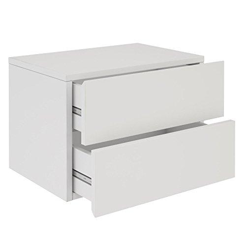 CARO-Möbel Nachtkommode ANNI Nachttisch Nachtschrank Hängend Wandregal mit 2 Schubladen in Weiß