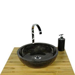 WOHNFREUDEN Marmor Waschbecken MILO 40 cm anthrazit ✓ Naturstein Waschschale Handwaschbecken rund poliert für Bad Gäste WC ✓ inkl. techn. Zeichnung ✓ schnell & versandkostenfrei ✓