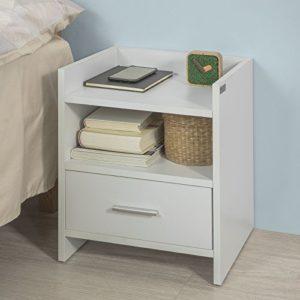 SoBuy FBT66-W Nachttisch Nachtschrank Beistelltisch mit 1 Schublade und 2 Ablagen, Weiß, BHT ca.: 38x45x35cm