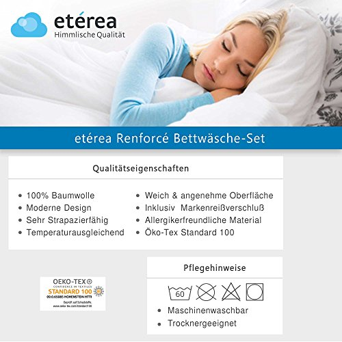 Etérea 2 tlg Renforcé Baumwolle Bettwäsche Rian Kariert Karo Schwarz, 135x200 cm + 80x80 cm