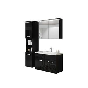 Badmöbel Set Paso mit Waschbecken und Siphon, Modernes Badezimmer, Komplett, Spiegelschrank, Waschtisch, Hochschrank, Hängeschrank Möbel (mit Weißer LED Beleuchtung, Schwarz/Schwarz Hochglanz)