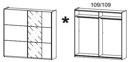 Schwebetürenschrank weiß 2 Türen B 218 cm Jugendzimmer Kinderzimmer Schlafzimmer Kleiderschrank Schrank Wäscheschrank Schiebetürenschrank