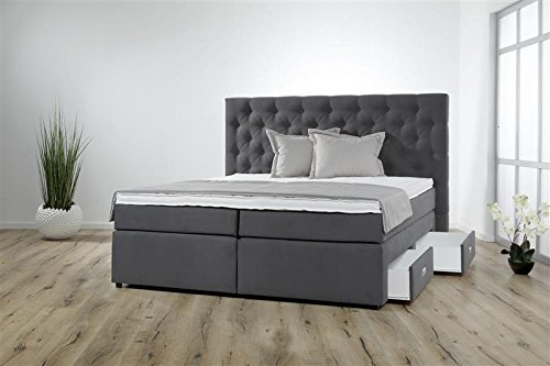 Breckle Boxspringbett 100 x 200 cm Lerche Box mit Stauraum 500 Hollanda 1000 Gel Topper Gel Comfort