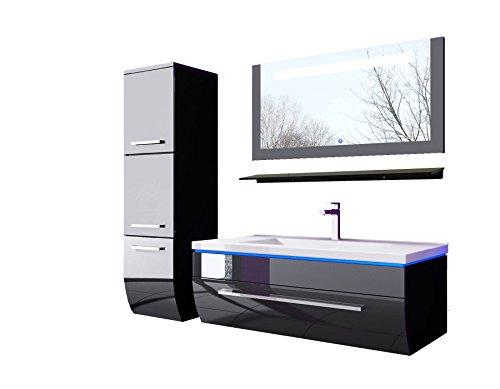 70 cm Schwarz mit einem Hängeschrank Badmöbelset Vormontiert Badezimmermöbel Waschbeckenschrank mit Waschtisch - Spiegel mit LED Hochglanz Lackiert Homeline1
