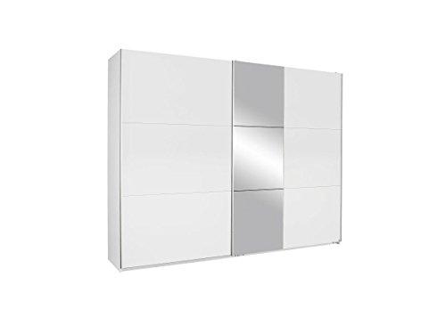 Rauch Schwebetürenschrank mit Spiegel 2-türig, Weiß Alpin, BxHxT 261x210x59 cm