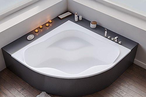 The North Bath COMFORT Asymmetrische Eckwanne Eckbadewanne 150x150 cm Wanne mit Wannenträger Ablaufgarniur Silikon und Füßen