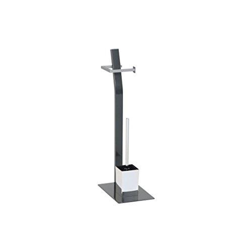 Ribelli Toilettenpapierhalter freistehend mit Klobürste WC Garnitur Anthrazit - Hoch ca. 70 cm -Toilettenbürste mit Standfuß und Klopapierhalter - Chrom Matt