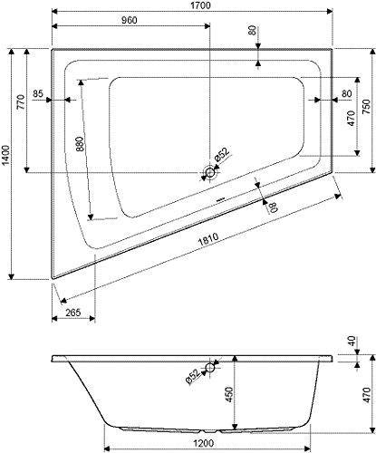 Acrylbadewanne droPino | Raumspar-Wanne rechte Ausführung | 170 x 140 cm | Wanne | Badewanne | Weiß