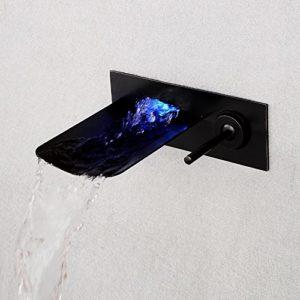 In-Wand-LED verdeckte Einhand-Keramikventilheißes und kaltes Wasser Wasserfall Ausgang Bad Waschbecken Wasserhahn, schwarz Bronze-Modelle/Wasserhahn/ Badarmatur Mischbatterie Armatur/Waschbeckenarmatur / Waschtischarmatur / Waschtischbatterie / Waschtischmischer/ Waschbecken Mischbatterien für Waschbecken/Badarmatur Waschtischarmatur