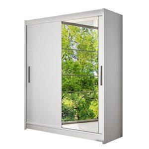 Schwebetürenschrank Presto VI Kleiderschrank mit Spiegel, Modernes Schlafzimmerschrank, Schiebetürenschrank, Garderobe, Schlafzimmer (Weiß)