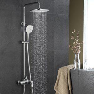 ubeegol Duscharmatur Set Duschgarnituren Duschpaneel Duschsystem Regendusche Duschsäule Mischbatterie Dusche ohne Thermostat Höhenverstellbar Duschstange mit Handbrasue Duschset für Badezimmer