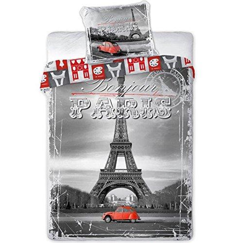 Bettwäsche Paris, Eiffelturm Wendebettwäsche 100 % Baumwolle, Größe: 140 x 200 cm, 70 x 90 cm