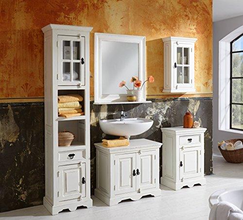 SAM® Badmöbel-Set 5-tlg,Toledo, Holz & MDF, weiß lackiert, Spiegel, Hochschrank, Kommode, Hängeschrank, Unterschrank