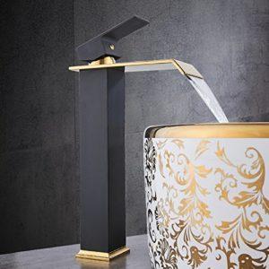 JRUIA Elegant Hohe Waschtischarmatur Wasserfall Hoher Auslauf Bad Wasserhahn Einhebel Mischbatterie Aufsatz-waschbecken Armatur Badarmatur f.Badezimmer aus Messing (H29cm,Schwarz&Gold)