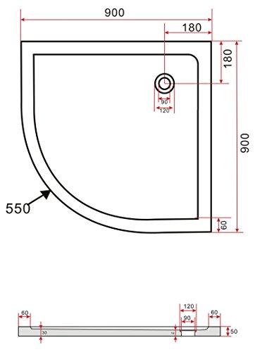90x90 Duschtasse Duschwanne Extra flach 50 mm Viertelkreis Weiß