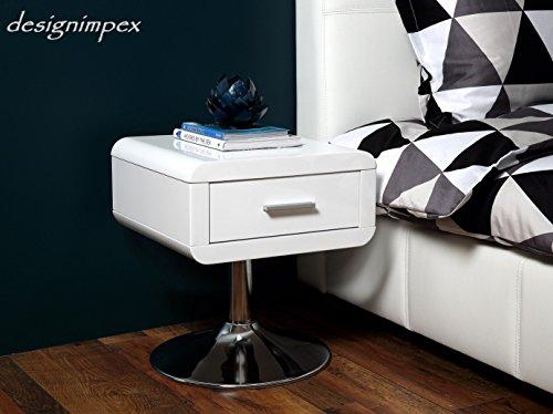 Design Nachttisch Nachtkommode Nachttisch NT-1 Weiß Chrom Hochglanz