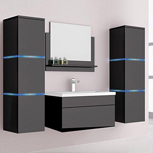 Home Deluxe Badmöbel-Set | Cuxhaven | Schwarz | Hochglanz | inkl. Waschbecken und komplettem Zubehör