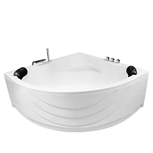 AQUADE extra stabile Badewanne 150 x 150 Eckbadewanne mit Untergestell 150x150 cm Modell: Kassel + Armatur + LED + Kissen