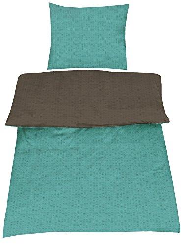 uni bettw sche baumwolle seersucker b gelfrei in 4 farben 135x200 80x80 wende stahlgrau. Black Bedroom Furniture Sets. Home Design Ideas