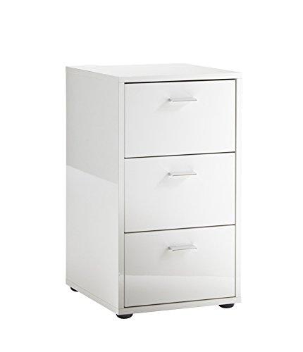 Unbekannt FMD Möbel Virginia 1 Up Nachtkonsole, Holz, hochglanz weiß, 35 x 40 x 62.5 cm