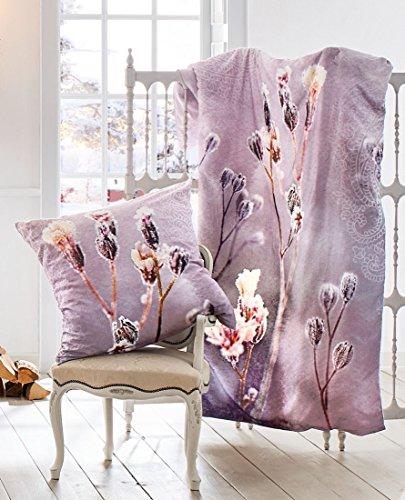Bierbaum Satin Digitaldruck Design 5121 Bettdecke 135/200 + Größe Kissen 080/080 Bettwäsche, Baumwolle, Mauve, 135 x 200 cm, 2-Einheiten