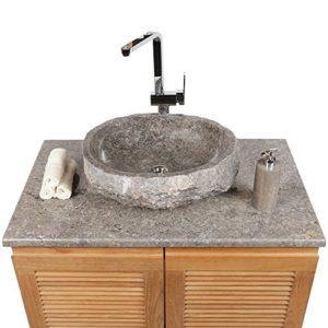 WOHNFREUDEN Marmor Waschbecken 50 cm ✓ groß rund grau ✓ Naturstein Waschplatz Handwaschbecken Steinwaschschale Naturstein-Aufsatzwaschbecken für Ihr Bad ✓ schnell & versandkostenfrei