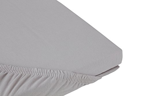 S.Ariba Soft Comfort Baumwolle Jersey-Stretch Spannbettlaken, verschiedene Farben und Größen, Silber 90x200cm bis 100x200cm
